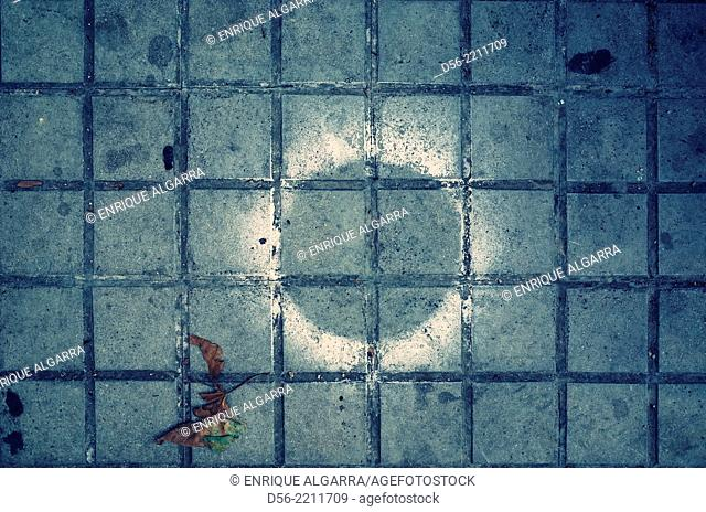 Paint mark in the floor shaped as an eclipse, Valencia, Spain