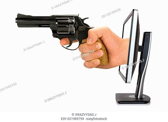 Violence on tv or internet concep