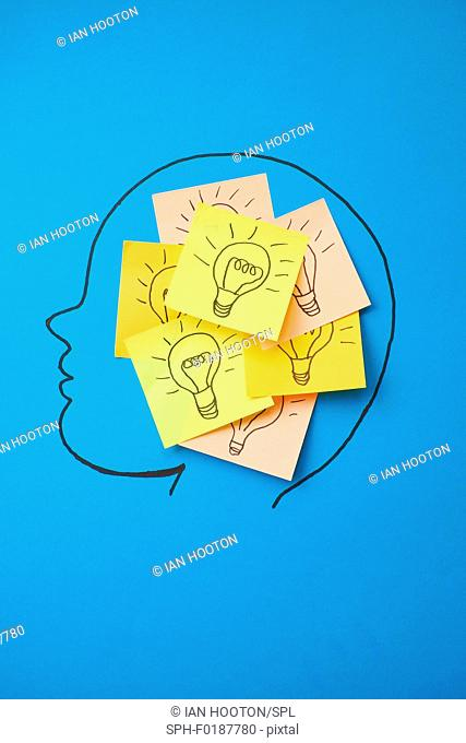Sticky notes with light bulbs on head, illustration