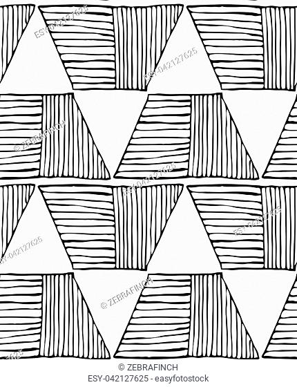 Hatched trapezoids big black on white.Hand drawn with ink seamless background