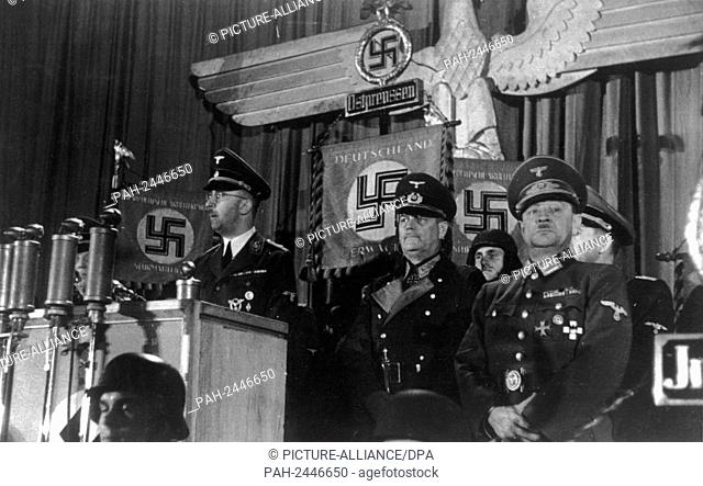 Reich leader of the SS, Heinrich Himmler, during the first appeal to the members of the Volkssturm in East Prussia. General Field Marshal Wilhelm Keitel and...