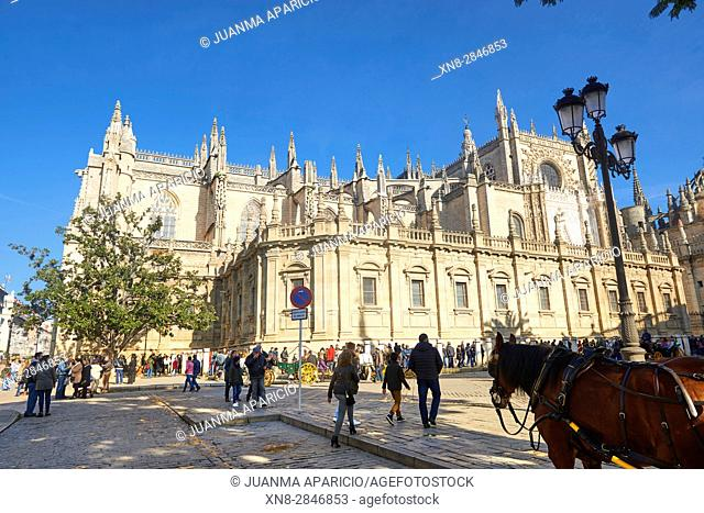 Seville Catheral and La Giralda, UNESCO World Heritage Site, Seville, Andalusia, Spain, Europe