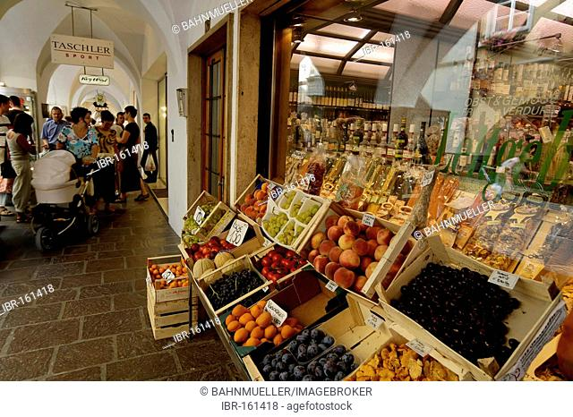 Brixen Bressanone Southern Tyrol Alto Adige Italy shops stores shopping under the alcoves in the historic center