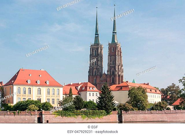 Panorama of the beautiful city. Wroclaw Cathedral dedicated to St. John the Baptist. City of Wroclaw, Poland country