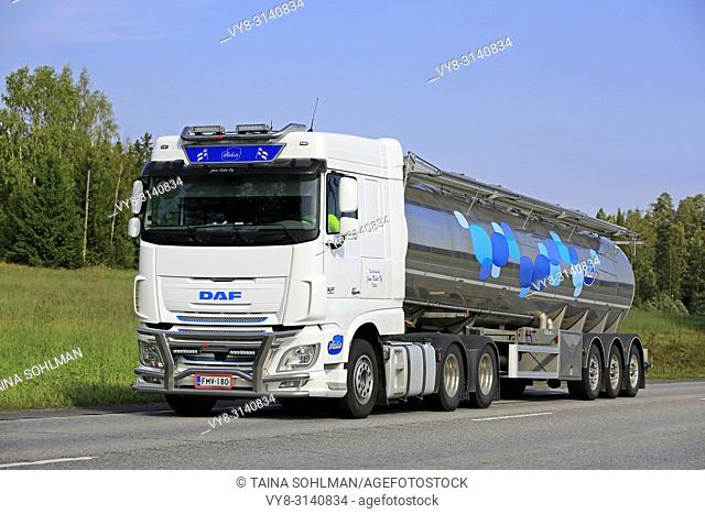 DAF XF510 semi tanker of Jani Kola Oy delivers Valio milk in Uurainen, Finland - August 24, 2018. Milk semi tankers are not an usual sight in Finland