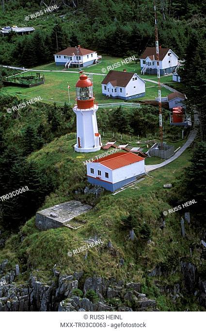 Aerial of Langara Lighthouse, Queen Charlotte Islands, British Columbia, Canada