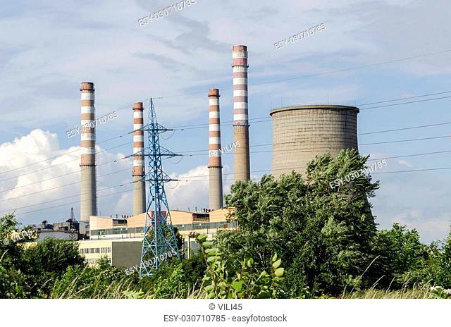 Thermoelectric power plant Sofia Iztok, close up, Bulgaria