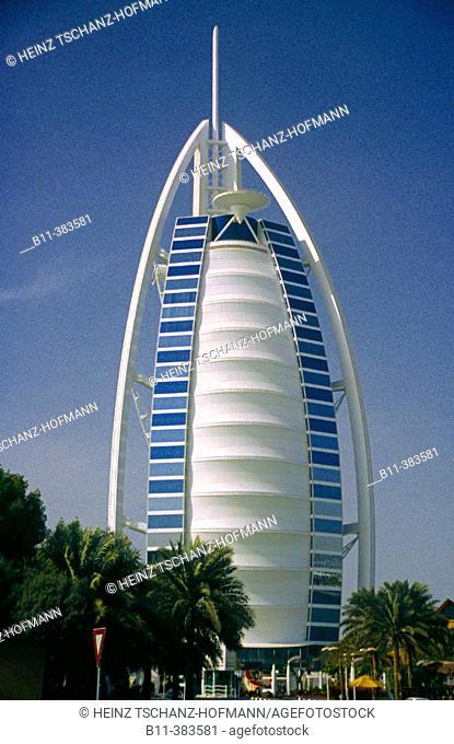 Emirat, Stadt Dubai, Stadtteil Jumeira, das Hotel Burj Al Arab, Luxushotel, Emirate, city of Dubai, district Jumeirah, Jumairah, Hotel Burj Al Arab