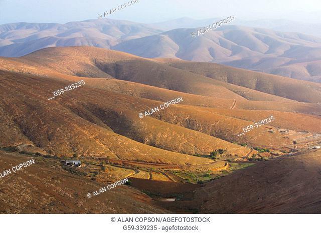 View from Morro de la Cruz north of Betancuria. Fuerteventura. Canary Islands. Spain