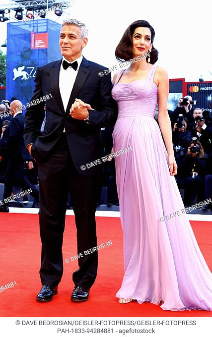 George Clooney and his wife Amal Alamuddin attending the 'Suburbicon' premiere at the 74th Venice International Film Festival at the Palazzo del Cinema on...