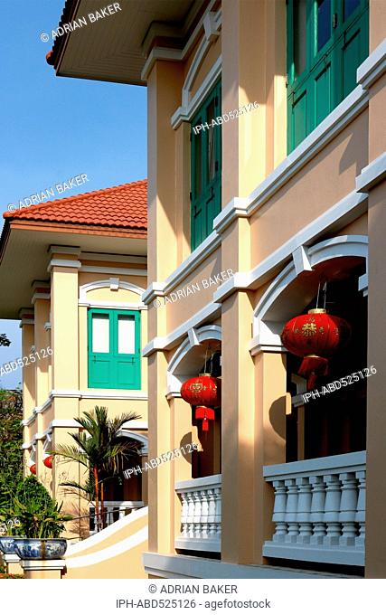 Thailand Phuket Phuket Town TAT (Tourism Authority of Thailand) building at Chinese New Year