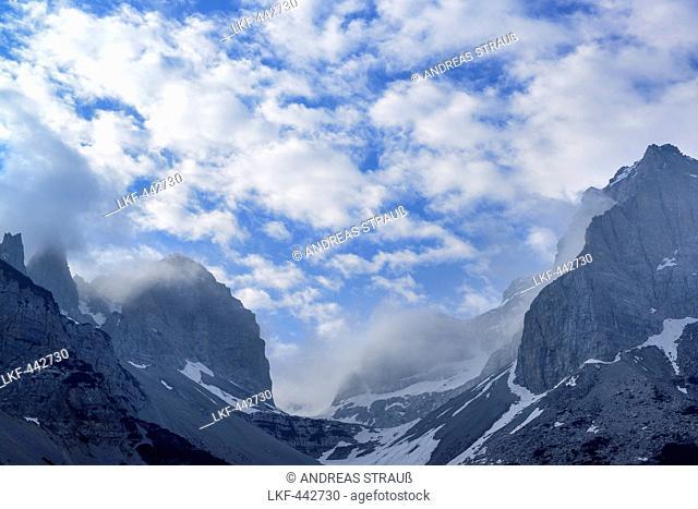 Fog over Val Scura, Brenta range, Brenta, Dolomites, UNESCO World Heritage Site Dolomites, Trentino, Italy