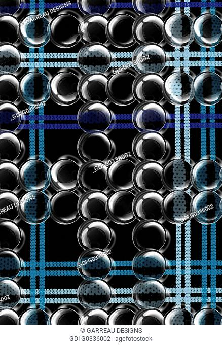Bubbles over black and blue plaid background