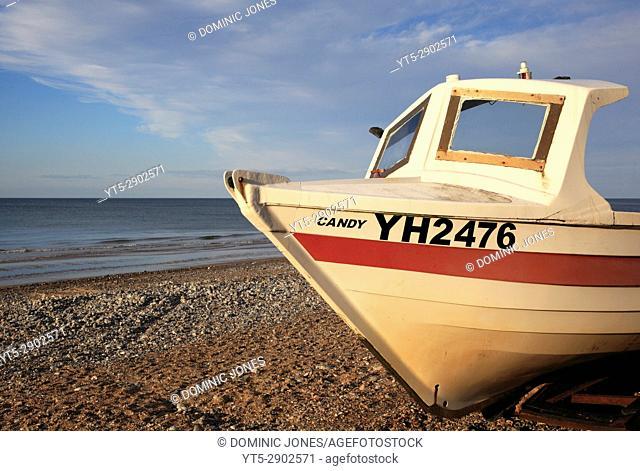 A moored boat on Cromer Beach, Cromer; Norfolk; England, Europe