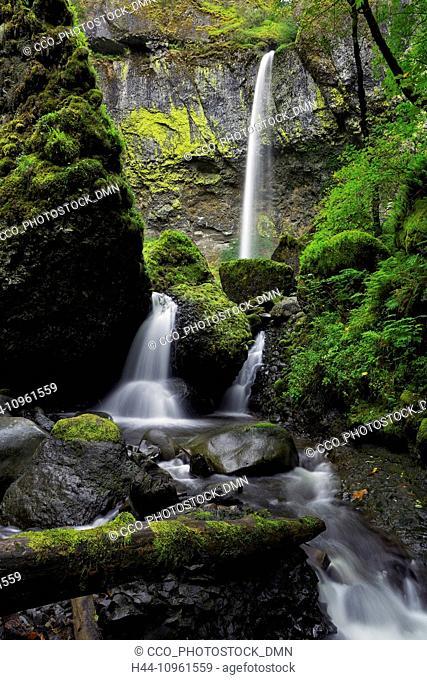 falls, waterfalls, water, creek, Columbia River Gorge, Elowah Falls, Oregon, OR, USA, America, United States, fall, brook, stream, cliffs, moss, cascade