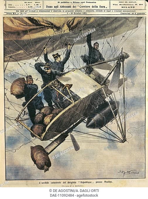 The catastrophe of the airship Republique near Moulins, France, illustration by Achille Beltrame from La Domenica del Corriere, October 3-10, 1909