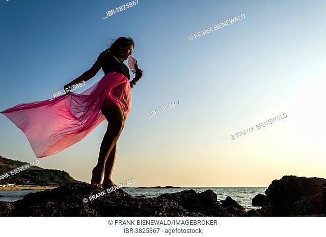 Young Indian woman wearing a pink skirt, posing on the beach, Anjuna, Goa, India