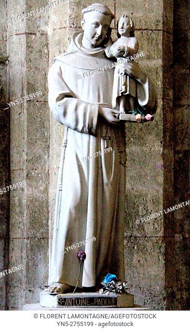 Statue of Saint Antoine of Padoue, Auvillar, Tarn et Garonne, Occitanie