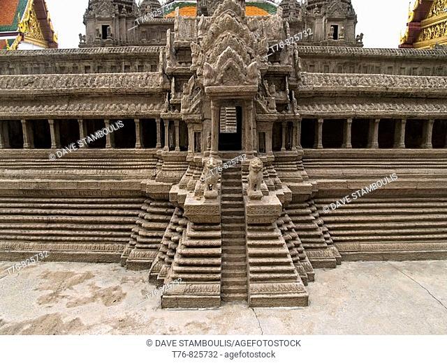 model of the temple of Angkor Wat at the Grand Palace in Bangkok Thailand