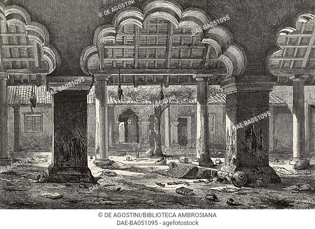 Cawnpore court where the massacre of prisoners occured during Nana-Sahib's capture, India, Indian Rebellion of 1857, illustration from L'Illustration