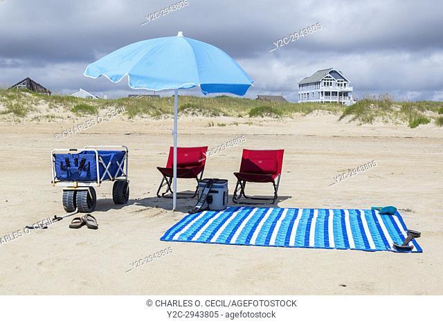 Avon, Outer Banks, North Carolina, USA. Beach Umbrella and Chairs