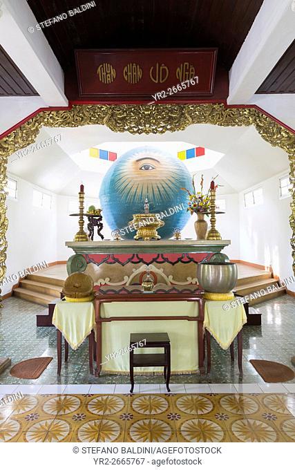 Religious symbol inside a Cao Dai temple. Danang, Vietnam