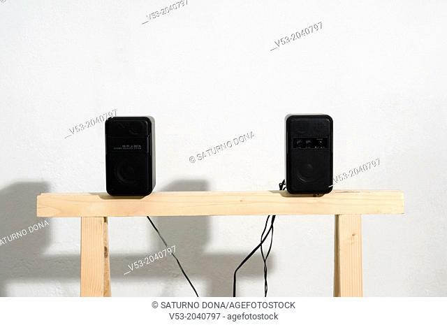 Speakers on sawhorse