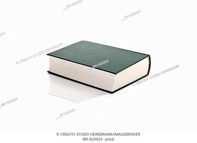 Hardcover book, blank unprinted green cover with no dust sleeve