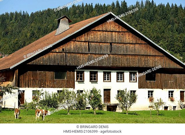 France, Doubs, Grand'Combe Chateleu, farm museums of Pays Horloger, Jacquemot farmhouse dated the 18th century