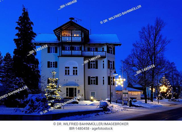 Town hall with Christmas tree, Bad Heilbrunn, Upper Bavaria, Germany, Europe