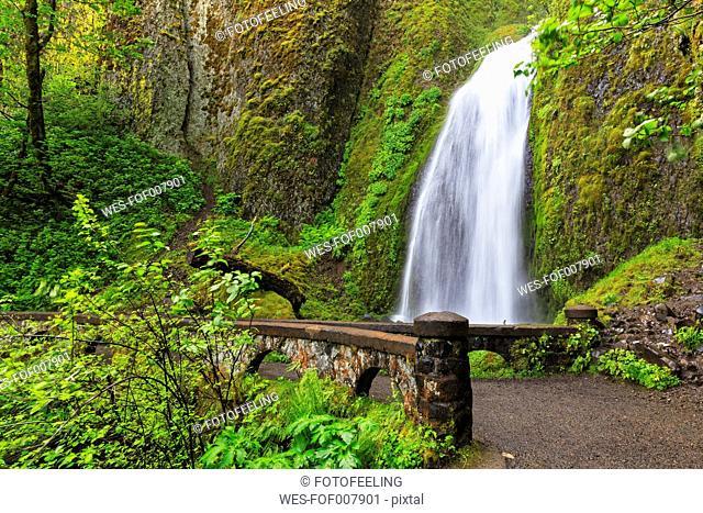 USA, Oregon, Multnomah County, Columbia River Gorge, Wahkeena Falls