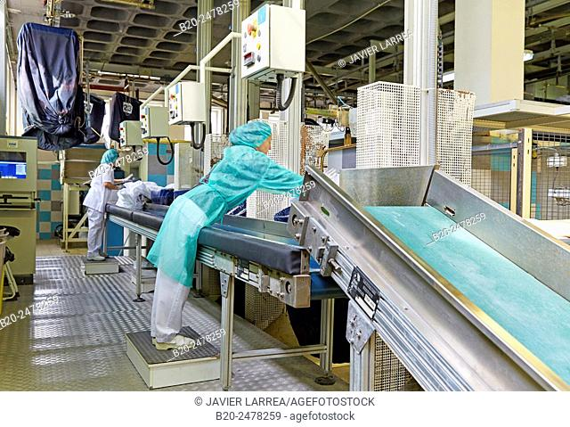 Women working by conveyor belt at hospital laundry, Hospital Donostia, San Sebastian, Basque Country, Spain