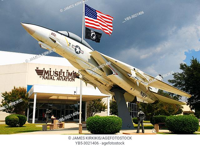 A Grumman F14 is on display outside Pensacola's Museum of Naval Aviation