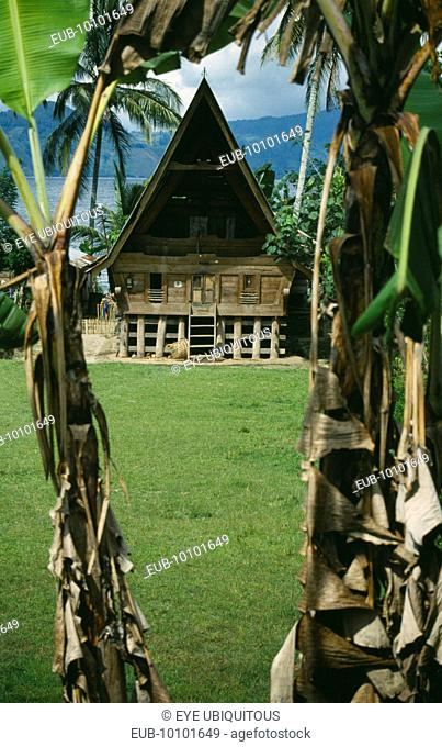 Wooden Batak house with pointed roof on Samosir Island seen through banana trees