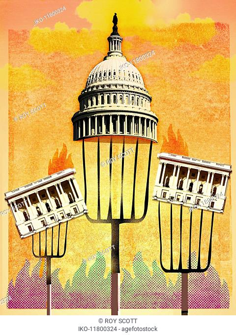 Capitol Building, Washington DC, held up on pitchforks and surrounded by flames