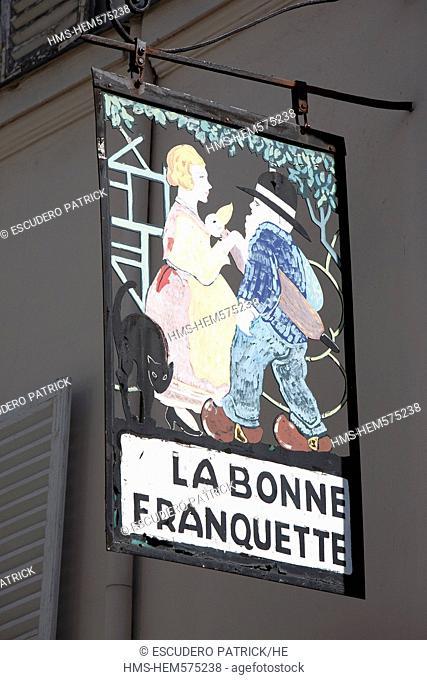 France, Paris, the Butte Montmartre, sign of the restaurant La Bonne Franquette on Saules street
