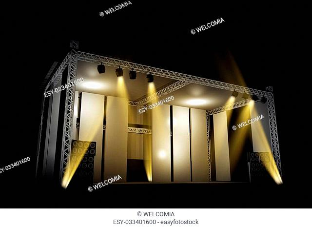 Illuminated Music Stage 3D Illustration. Music Illustrations Collection