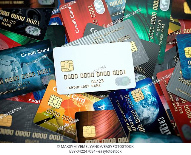 White blank credit cards mockup onthe background of colorful credit cards of the different banks. 3d illustration