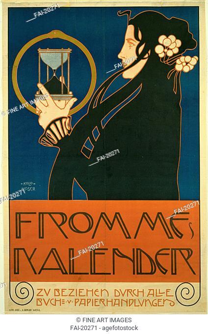 Frommes Kalender. Moser, Koloman (1868-1918). Colour lithograph. Art Nouveau. 1903. Austria. Private Collection. 95,2x61,6. Poster and Graphic design