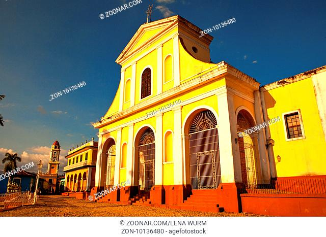 Trinidad, Cuba - December 18, 2016: The main church of the UNESCO World Heritage old town of Trinidad, Cuba