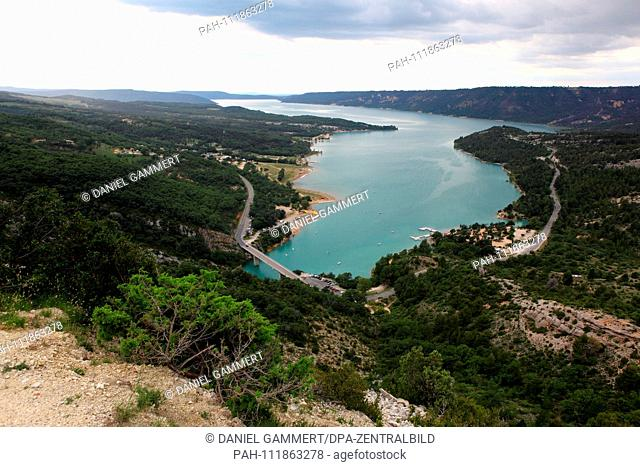 View over the reservoir Lac de Sainte-Croix at the Verdon Gorge in the south of France. Looking east into the gorge, at the beginning you can see the bridge of...