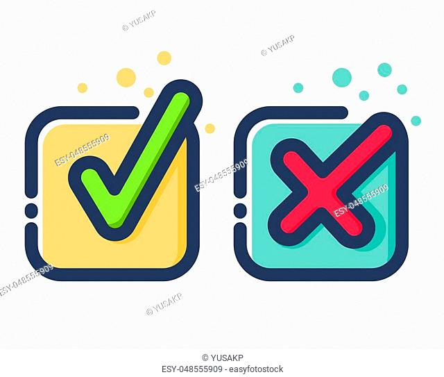 Vector stock of colorful modern check mark flat icon