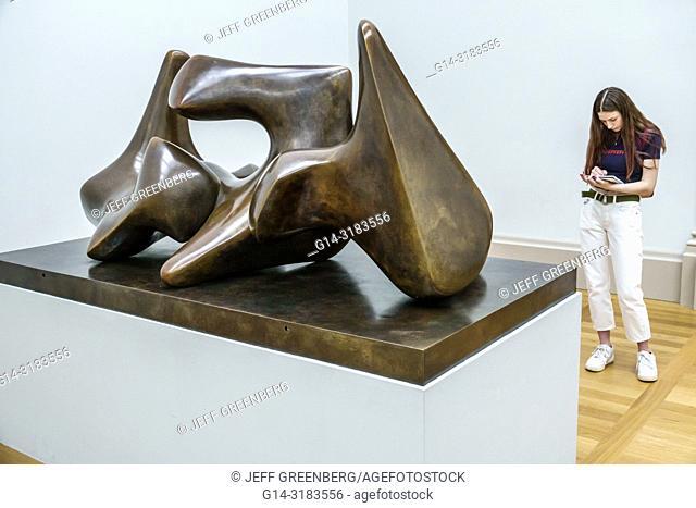 United Kingdom Great Britain England, London, Westminster, Millbank, Tate Britain art museum, inside interior, gallery, Henry Moore sculpture