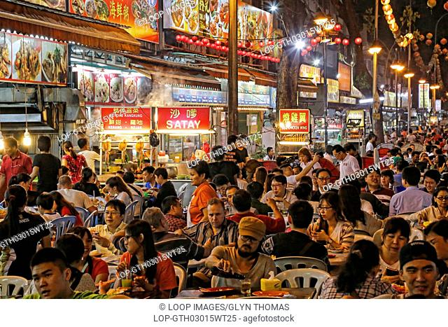 Street food stalls and restaurants in Jalan Alor in Kuala Lumpur