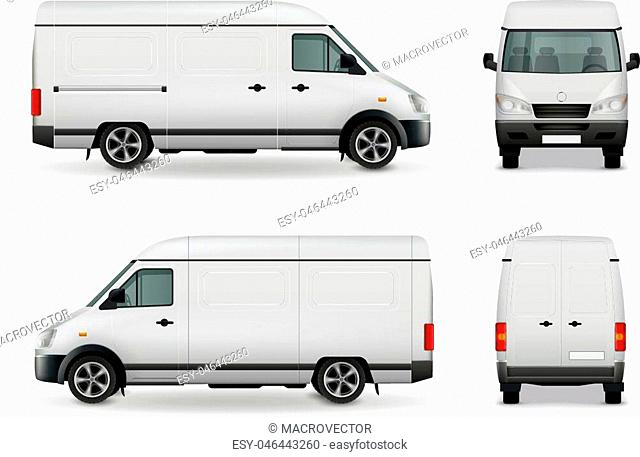 Realistic white cargo van with empty surface advertising mockup side view, front and rear vector illustration