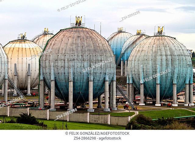 Butane gas tanks, ditribution plant at Campa Torres, El Musel port Gijón, Asturias, Spain