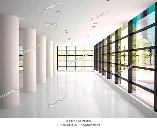 3d illustration of empty and bright corridor in modern office building
