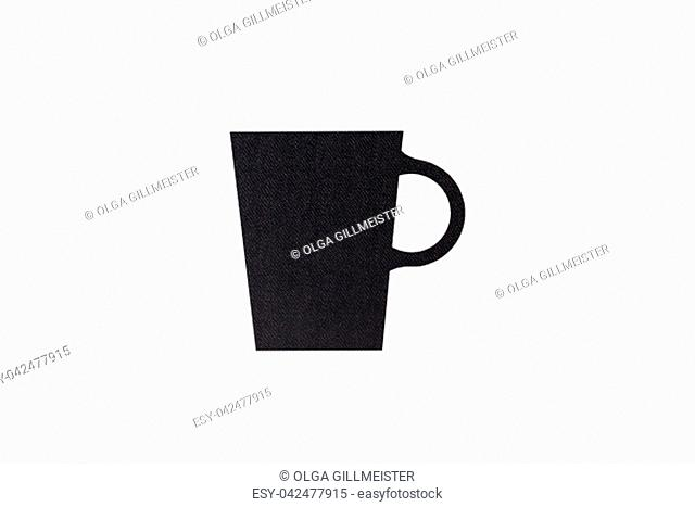 Coffee cup background isolated. Top view of details of a printed coffee cup on plastic isolated on a white background
