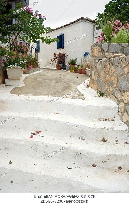 Little town of Metochi from Agistri Island, Saronic Sea, Mediterranean, Greece