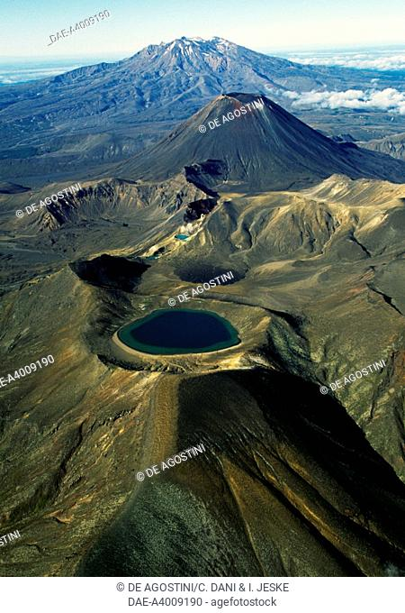 Blue Lake, Central Plateau, Tongariro National Park (UNESCO World Heritage List, 1990), North Island, New Zealand. Aerial view